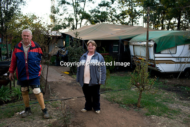 KLEINFONTEIN, SOUTH AFRICA - JULY 15: Dries and Annatjie Oncke lives with their family in a caravan park on July 15, 2013 in Kleinfontein outside Pretoria, South Africa. The all white town with about one thousand residents are all Afrikaners with a Vortrekker heritage. Only white Afrikaners who share Afrikaner culture, language and religion are allowed to settle in the town. (Photo by: Per-Anders Pettersson)