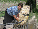 Armenia 2007 <br /> Yezidi woman washing sheep wool   <br /> Armenie 2007  <br /> Femme yezidi lavant de la laine de mouton