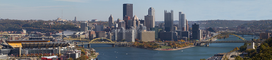 Pittsburgh Skyline Panorama - Wide angle Perspective. Available sizes 8 x 36 and 24 x 108 inches.