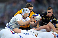 Isaac Boss of Leinster Rugby looks to put the ball into a scrum. European Rugby Champions Cup match, between Bath Rugby and Leinster Rugby on November 21, 2015 at the Recreation Ground in Bath, England. Photo by: Patrick Khachfe / Onside Images
