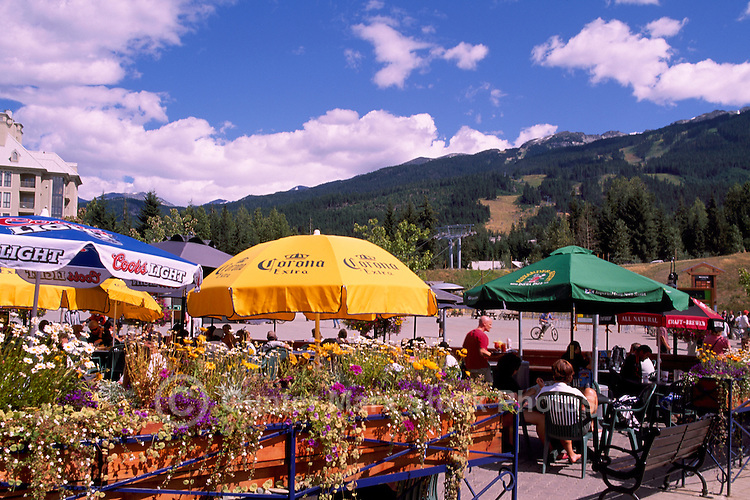 Whistler, BC, British Columbia, Canada - Outdoor Restaurant and Patio below Blackcomb Mountain, Summer