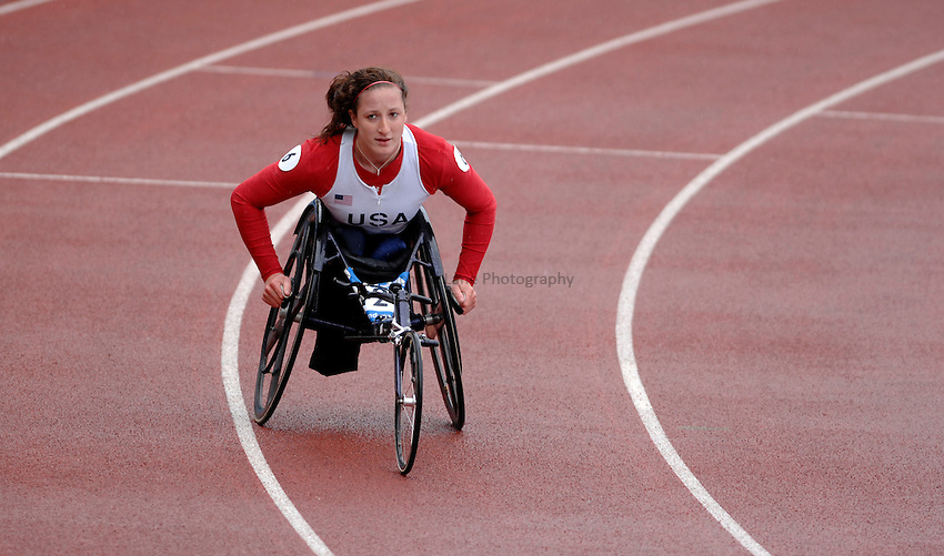 Photo: Richard Lane..VISA Paralympic World Cup 2007. Athletics. 13/05/2007. .Winner, Tatyana McFadden of USA in the women's T54 400m.