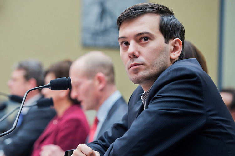 "UNITED STATES - FEBRUARY 04: Martin Shkreli, former CEO Turing Pharmaceuticals, invoked his Fifth Amendment right against self-incrimination during a House Oversight and Government Reform Committee hearing in Rayburn Building on ""methods and reasoning behind recent drug price increases,"" February 04, 2016. Turing had raised the price of Daraprim, a drug used by AIDS and cancer patients, from $13.50 to $750 a pill. (Photo By Tom Williams/CQ Roll Call)"