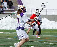 University at Albany Men's Lacrosse defeats Cornell 11-9 on Mar 4 at Casey Stadium.  Zach wolfe (#16).