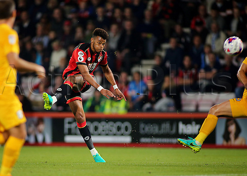 20.09.2016. Vitality Stadium, Bournemouth, England. Football League Cup Football. Bournemouth versus Preston. Bournemouth Defender Tyrone Mings shot goes wide