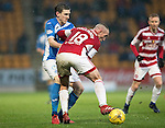 St Johnstone v Hamilton Accies…28.01.17     SPFL    McDiarmid Park<br />Blair Alston is tackled by Darian MacKinnon<br />Picture by Graeme Hart.<br />Copyright Perthshire Picture Agency<br />Tel: 01738 623350  Mobile: 07990 594431