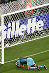 05 July 2006: Goalkeeper Ricardo (POR) holds his head in disappointment after barely failing to stop the 33rd minute penalty kick from Zinedine Zidane (FRA) (not pictured). France defeated Portugal 1-0 at the Allianz Arena in Munich, Germany in match 62, the second semifinal game, in the 2006 FIFA World Cup.