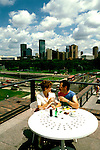 Minnesota:  Minneapolis- St. Paul. .Couple at Walker Art Center, Model Released..Photo copyright Lee Foster, www.fostertravel.com, Photo #: mnaqua103. 510/549-2202, lee@fostertravel.com.