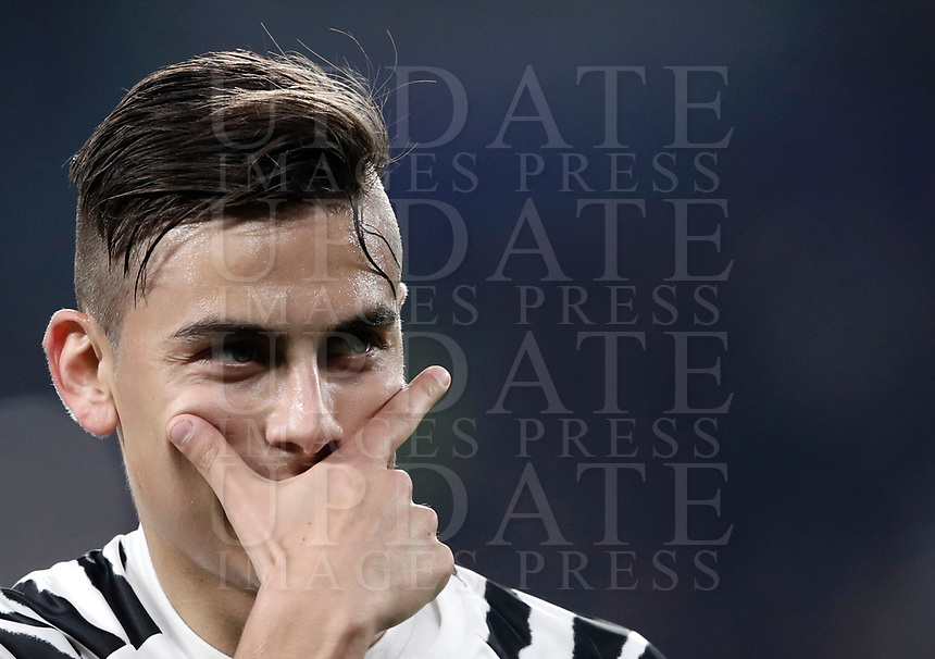 Juventus' Paulo Dybala celebrates after scoring on a penalty kick during the Champions League round of 16 soccer match against Porto at Turin's Juventus Stadium, 14 March 2017.<br /> UPDATE IMAGES PRESS/Isabella Bonotto