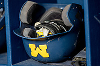 Michigan Wolverines batting helmet on March 27, 2019 in Game 2 of the NCAA baseball doubleheader at Ray Fisher Stadium in Ann Arbor, Michigan. Michigan defeated San Jose State 3-0. (Andrew Woolley/Four Seam Images)