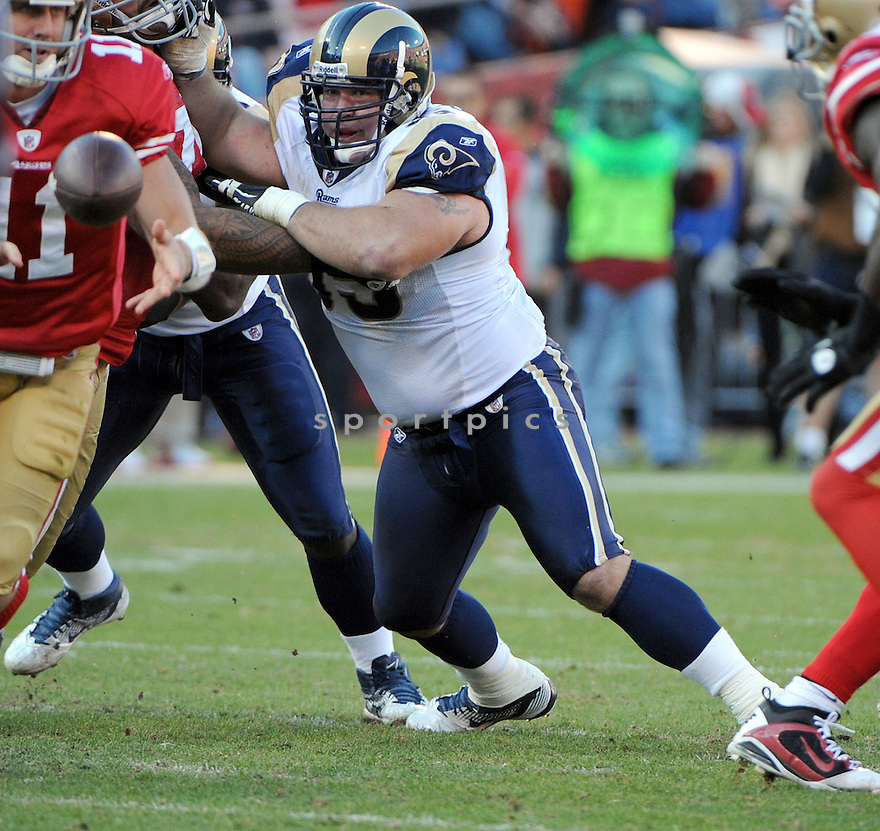 JUSTIN BANNAN, of the St. Louis Rams, in action during the Rams game against the San Francisco 49ers on December 4, 2011 at Candlestick Park in San Francisco, CA. The 49ers beat the Rams 26-0.
