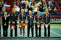Moskou, Russia, Februari 4, 2016,  Fed Cup Russia-Netherlands,  Opening Ceremony, Dutch team<br /> Photo: Tennisimages/Henk Koster