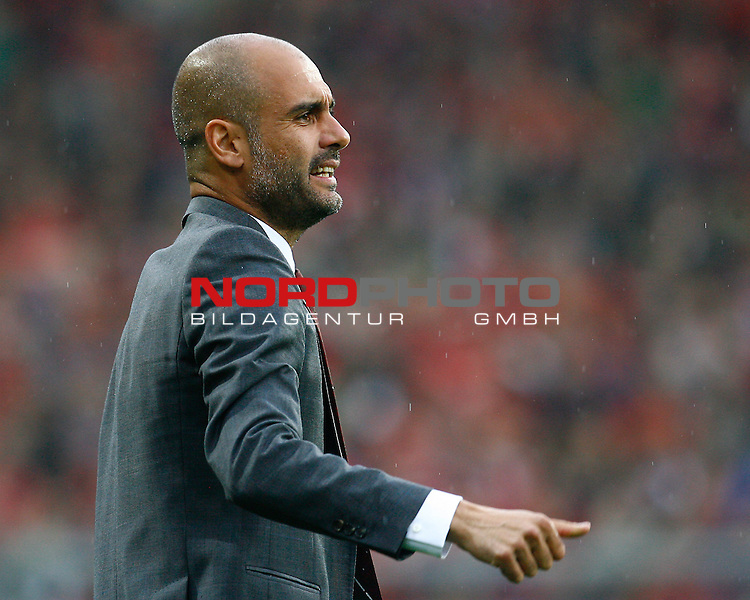 27.08.2013, MAGE Solar Stadion, Freiburg, GER, 1.FBL, SC Freiburg vs FC Bayern M&uuml;nchen, Josep (Pep) GUARDIOLA, Trainer FCB, Halbk&ouml;rper, Portrait, Portr&auml;t, Gestik, quer<br /> <br /> Foto &copy; nph / H. Koerkel