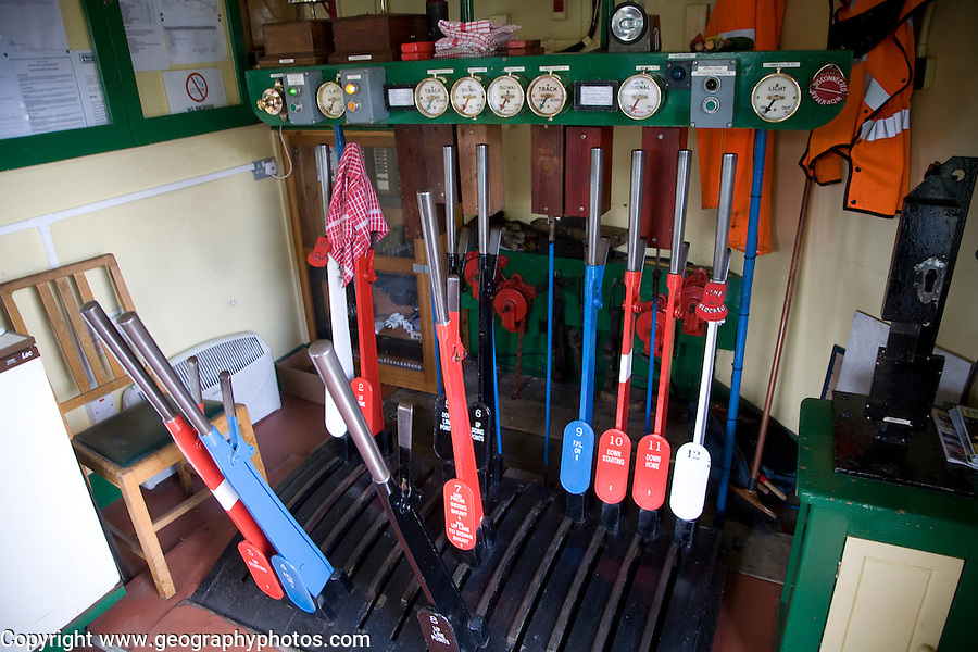 Signal box Steam railway Corfe Castle to Swanage Dorset England