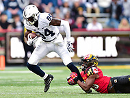 College Park, MD - NOV 11, 2017: Penn State Nittany Lions wide receiver Juwan Johnson (84) is tackled after a catch during game between Maryland and Penn State at Capital One Field at Maryland Stadium in College Park, MD. (Photo by Phil Peters/Media Images International)