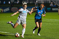 Kansas City, MO - Thursday August 10, 2017: Shea Groom, Abby Dahlkemper during a regular season National Women's Soccer League (NWSL) match between FC Kansas City and the North Carolina Courage at Children's Mercy Victory Field.