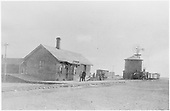 D&amp;RG mixed freight train approaching Henry, CO.  A small depot crowd awaits its arrival.<br /> D&amp;RG  Monte Vista (ex-Henry, ex-Lariat), CO  ca. 1885