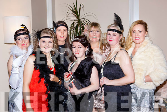 Geraldine Riordan, Amy Cahill, Sinead Allen, Norma Casey, Margaret Quirke and Aisling O'Connor at The Great Gatsby Womens Christmas ball in the Brehon Hotel