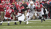 NWA Democrat-Gazette/J.T. WAMPLER  Mississippi State's Aeris Williams breaks away for yards Saturday Nov. 18, 2017 at Donald W. Reynolds Razorback Stadium in Fayetteville. Arkansas lost 21-28.