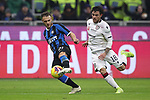 Federico Dimarco of Inter tussles with Nahitan Nandez of Cagliari during the Coppa Italia match at Giuseppe Meazza, Milan. Picture date: 14th January 2020. Picture credit should read: Jonathan Moscrop/Sportimage