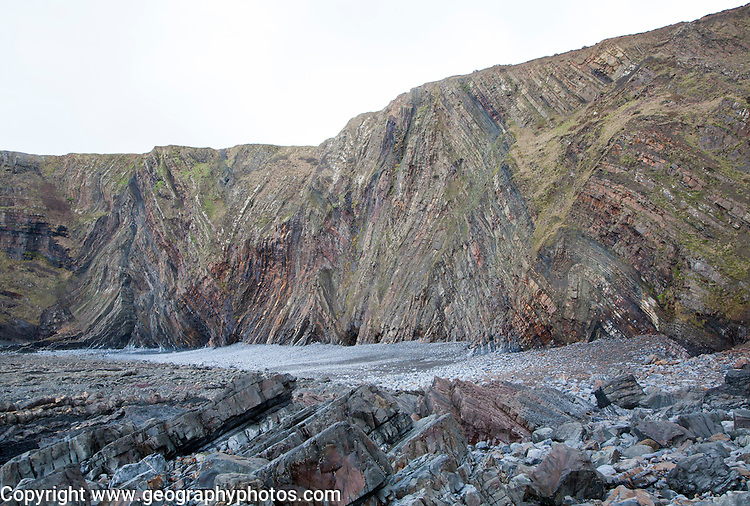 Complex folding of sedimentary rock strata in coastal cliffs at Hartland Quay, north Devon, England