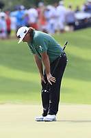 Pat Perez (USA) just misses his putt on the 18th green during Friday's Round 2 of the 2017 PGA Championship held at Quail Hollow Golf Club, Charlotte, North Carolina, USA. 11th August 2017.<br /> Picture: Eoin Clarke | Golffile<br /> <br /> <br /> All photos usage must carry mandatory copyright credit (&copy; Golffile | Eoin Clarke)