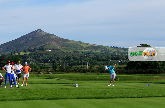 Leona Maguire on the 14th tee during the Saturday Afternoon Fourballs of the 2016 Curtis Cup at Dun Laoghaire Golf Club on Saturday 11th June 2016.<br /> Picture:  Golffile | Thos Caffrey