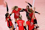 25.08.2018, …VB Arena, Bremen<br />Volleyball, LŠnderspiel / Laenderspiel, Deutschland vs. Niederlande<br /><br />Jubel Lena Stigrot (#10 GER), Jana Franziska Poll (#5 GER), Louisa Lippmann (#11 GER), Denise Hanke (#3 GER), Lenka DŸrr / Duerr (#1 GER), Barbara Wiezorke (#15 GER)<br /><br />  Foto &copy; nordphoto / Kurth