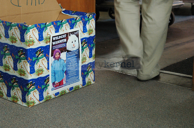 An emptied donations box sits outside the Wildcat Warmth office at the Reynolds building on Thursday November 12th 2009.  Photo by Jon Reynolds | Staff