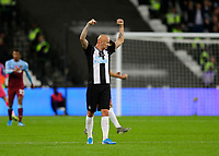 2nd November 2019; London Stadium, London, England; English Premier League Football, West Ham United versus Newcastle United; Jonjo Shelvey of Newcastle United celebrates after the final whistle and a 2-3 win - Strictly Editorial Use Only. No use with unauthorized audio, video, data, fixture lists, club/league logos or 'live' services. Online in-match use limited to 120 images, no video emulation. No use in betting, games or single club/league/player publications