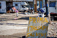 The welcome signs for Matteo Salvini prepared by Roma<br /> The secretary of the Northern League, Matteo Salvini visited the roma camp  of Via Salviati to Tor Sapienza neighborhood on the outskirts of Rome.  The Roma camp in via Salviati and inhabited by about 450 people from the former Yugoslavia. Rome, Italy. 24th Febraury 2016.