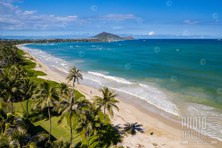 Aerial view of Kailua Beach and Windward coastline, with Marine Corps Base Hawai'i in Kane'ohe in the distance, O'ahu.