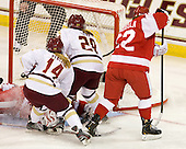 Kerrin Sperry (BU - 1), Emily Pfalzer (BC - 14), Kate Leary (BC - 28), Jill Cardella (BU - 22) - The Boston College Eagles tied the visiting Boston University Terriers 5-5 on Saturday, November 3, 2012, at Kelley Rink in Conte Forum in Chestnut Hill, Massachusetts.