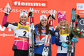 7th January 2018, Val di Fiemme, Fiemme Valley, Italy; FIS Cross Country World Cup, Tour de ski; Ladies 9km F Pursuit; Ingvild Flugstad Oestberg (NOR), Heidi Weng (NOR), Jessica Diggins (USA)on the podium