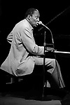 "Memphis Slim, Great American Music Hall, Oct. 7, 1985; an American blues pianist, singer, and composer. He led a series of bands that, reflecting the popular appeal of jump blues, included saxophones, bass, drums, and piano. A song he first cut in 1947, ""Every Day I Have the Blues,"" has become a blues standard, recorded by many other artists. Slim made over 500 recordings."