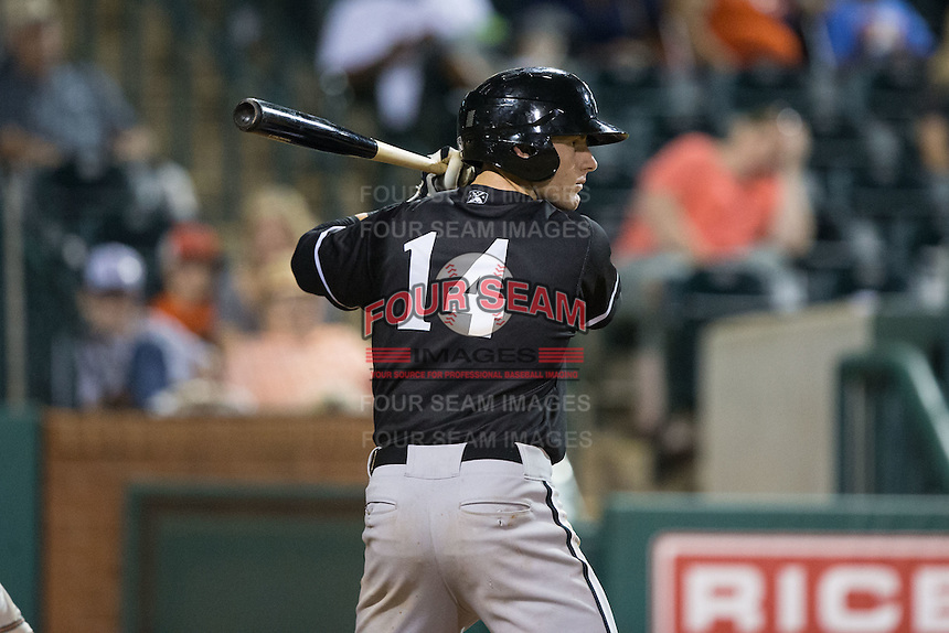 Max Dutto (14) of the Kannapolis Intimidators at bat against the Greensboro Grasshoppers at NewBridge Bank Park on July 7, 2016 in Greensboro, North Carolina.  The Dash defeated the Pelicans 13-9.  (Brian Westerholt/Four Seam Images)