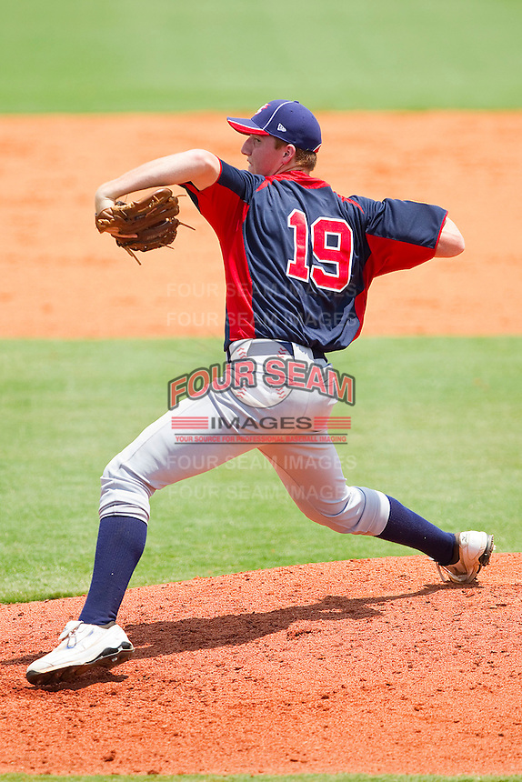 Teddy Stankiewicz #19 of AABC in action against Dixie at the 2011 Tournament of Stars at the USA Baseball National Training Center on June 25, 2011 in Cary, North Carolina.  The AABC defeated Dixie 4-2.  (Brian Westerholt/Four Seam Images)