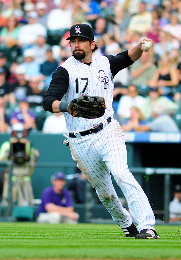 May 30, 2009: Rockies 1st baseman Todd Helton fields a bunt during a game between the San Diego Padres and the Colorado Rockies at Coors Field in Denver, Colorado. The Rockies beat the Padres 8-7.