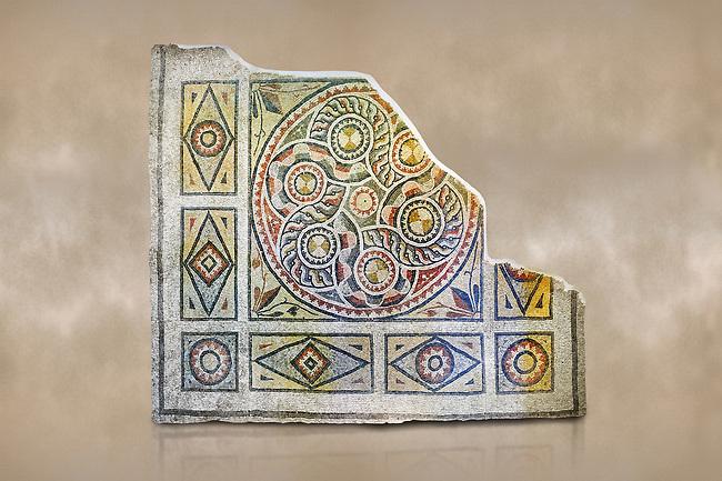 Roman mosaics - Geometric Mosaic. The Giyoslu Villa. Ancient Zeugama, 2nd - 3rd century AD . Zeugma Mosaic Museum, Gaziantep, Turkey.   Against an art background.