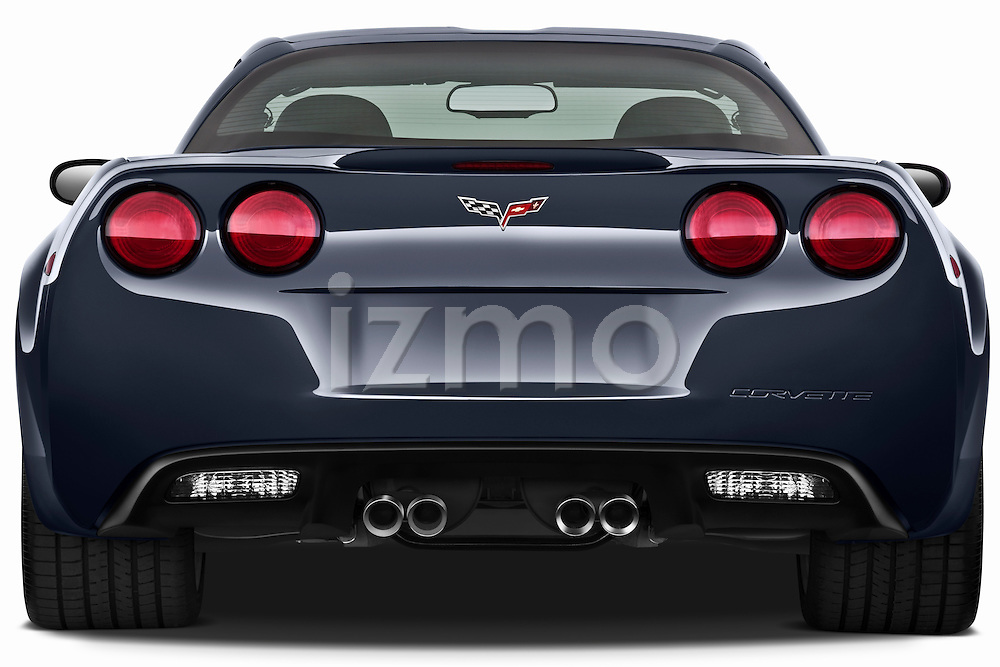 Straight rear view of a 2010 Chevrolet Corvette GS Coupe
