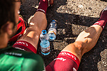 Nathan Haas (AUS) Team Katusha-Alpecin exhausted from the heat after crossing the finish line at the Green Mountains during Stage 5 of the 2018 Tour of Oman running 152km from Sam'il to Jabal Al Akhdhar. 17th February 2018.<br /> Picture: ASO/Muscat Municipality/Kare Dehlie Thorstad | Cyclefile<br /> <br /> <br /> All photos usage must carry mandatory copyright credit (&copy; Cyclefile | ASO/Muscat Municipality/Kare Dehlie Thorstad)