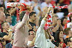 Sevilla's supporters celbes the victory of his team after the match between Sevilla FC and Villarreal day 9 spanish  BBVA League 2014-2015 day 5, played at Sanchez Pizjuan stadium in Seville, Spain. (PHOTO: CARLOS BOUZA / BOUZA PRESS / ALTER PHOTOS)