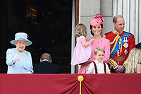 Queen, Princess Charlotte, Catherine Duchess of Cambridge, Prince William and Prince George<br /> on the balcony of Buckingham Palace during Trooping the Colour on The Mall, London. <br /> <br /> <br /> &copy;Ash Knotek  D3283  17/06/2017