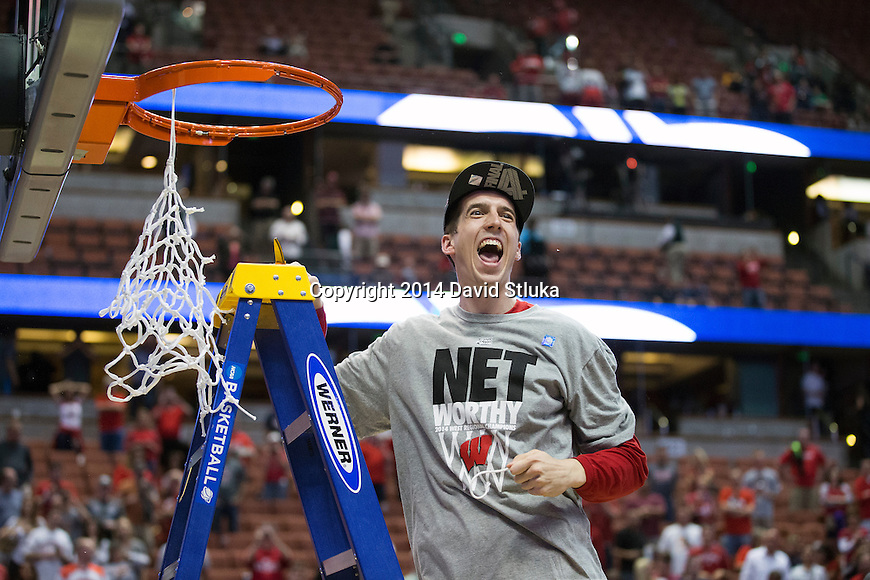 Wisconsin Badgers Zach Bohannon cuts down a piece of the net after the Western Regional Final NCAA college basketball tournament game against the Arizona Wildcats Saturday, March 29, 2014 in Anaheim, California. The Badgers won 64-63 (OT). (Photo by David Stluka)