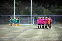 Action from the Women's 2017 Executive Plate football match between Victoria University (green) and North Wellington (pink) at Wakefield Park in Wellington, New Zealand on Sunday, 23 April 2017. Photo: Dave Lintott / lintottphoto.co.nz