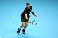 Andy Murray  (GBR)(1) action against  Marin Cilic (CRO) (7) in their John McEnroe  Group  match during Day Two of the Barclays ATP World Tour Finals 2015 played at The O2 Arena, London on November 14th  2016