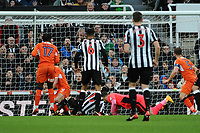 Ayoze Perez of Newcastle United scores the opening goal of the game during Newcastle United vs Luton Town, Emirates FA Cup Football at St. James' Park on 6th January 2018