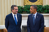 United States President Barack Obama (R) and Prime Minister Antonis Samaras of Greece (L) speak to the media after a bilateral meeting in the Oval Office in Washington, DC, USA, 08 August 2013. The White House said Obama's meeting with Samaras will 'underscore our ongoing support for Greece's efforts to reform its economy and promote a return to prosperity.'<br /> Credit: Jim LoScalzo / Pool via CNP