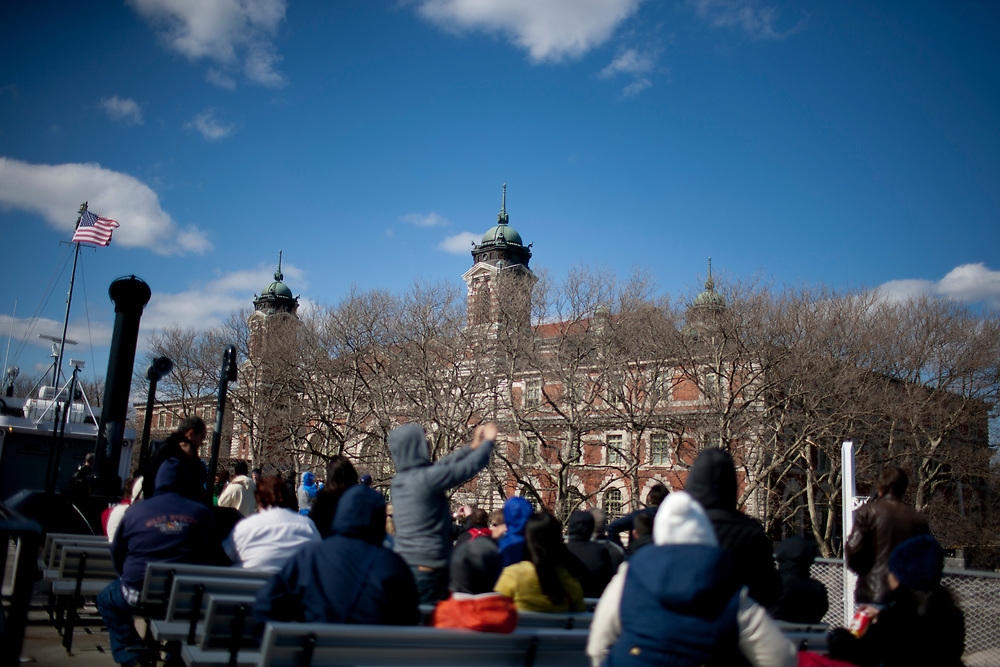 Ellis Island is seen from a ferry on Saturday, April 5, 2014, in New York. (Photo by James Brosher)