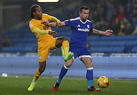 Joe Ralls of Cardiff City is challenged by Daniel Johnson of Preston North End during the Sky Bet Championship match between Cardiff City and Preston North End at Cardiff City Stadium, Wales, UK. Tuesday 31 January 2017